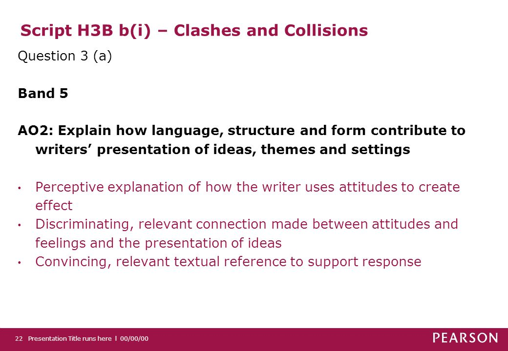 Script H3B b(i) – Clashes and Collisions