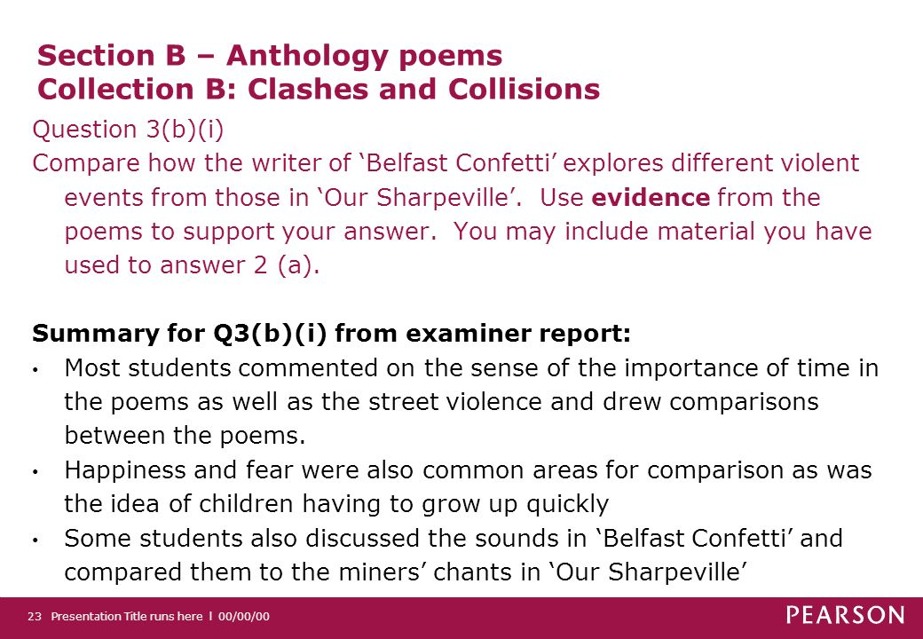 Section B – Anthology poems Collection B: Clashes and Collisions