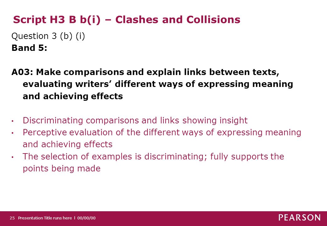 Script H3 B b(i) – Clashes and Collisions