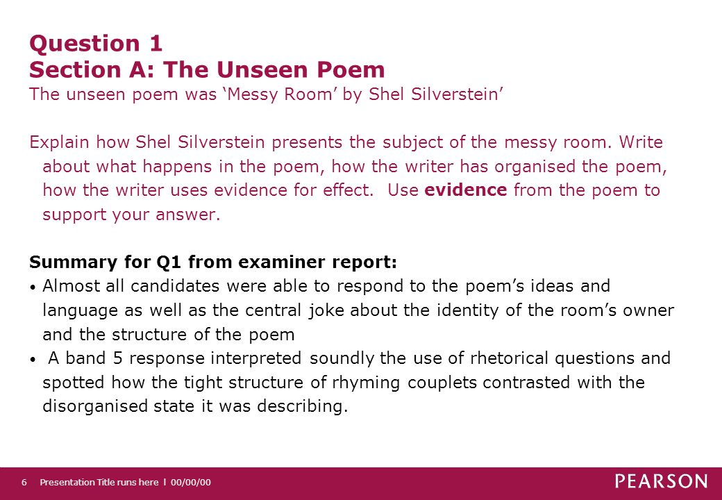 Question 1 Section A: The Unseen Poem