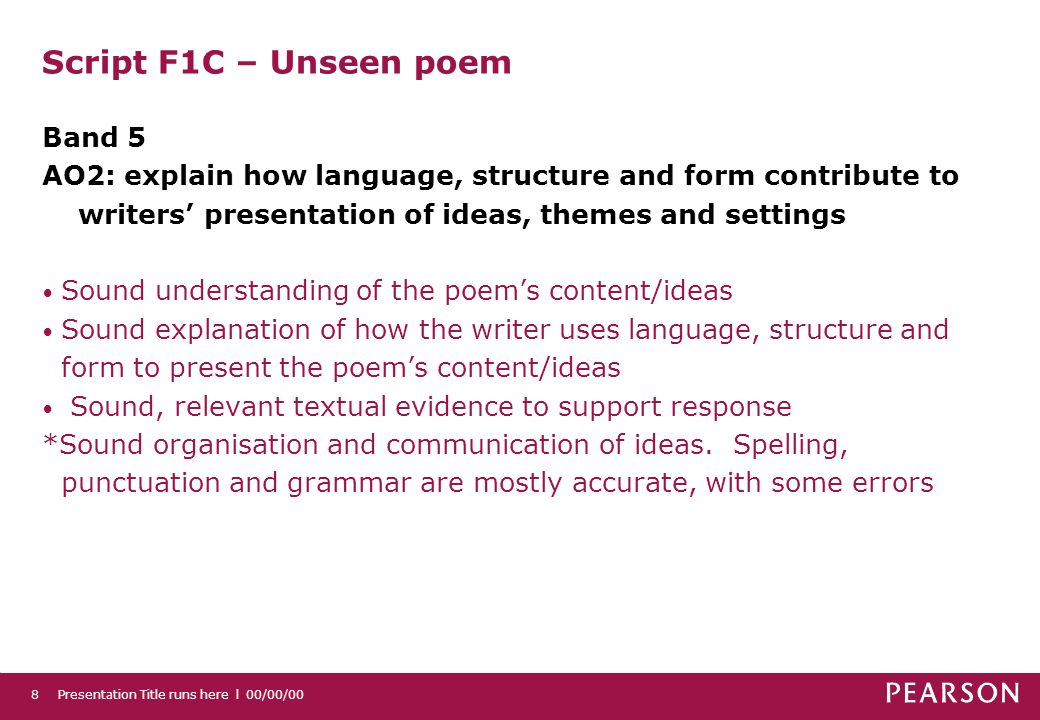 Script F1C – Unseen poem Band 5
