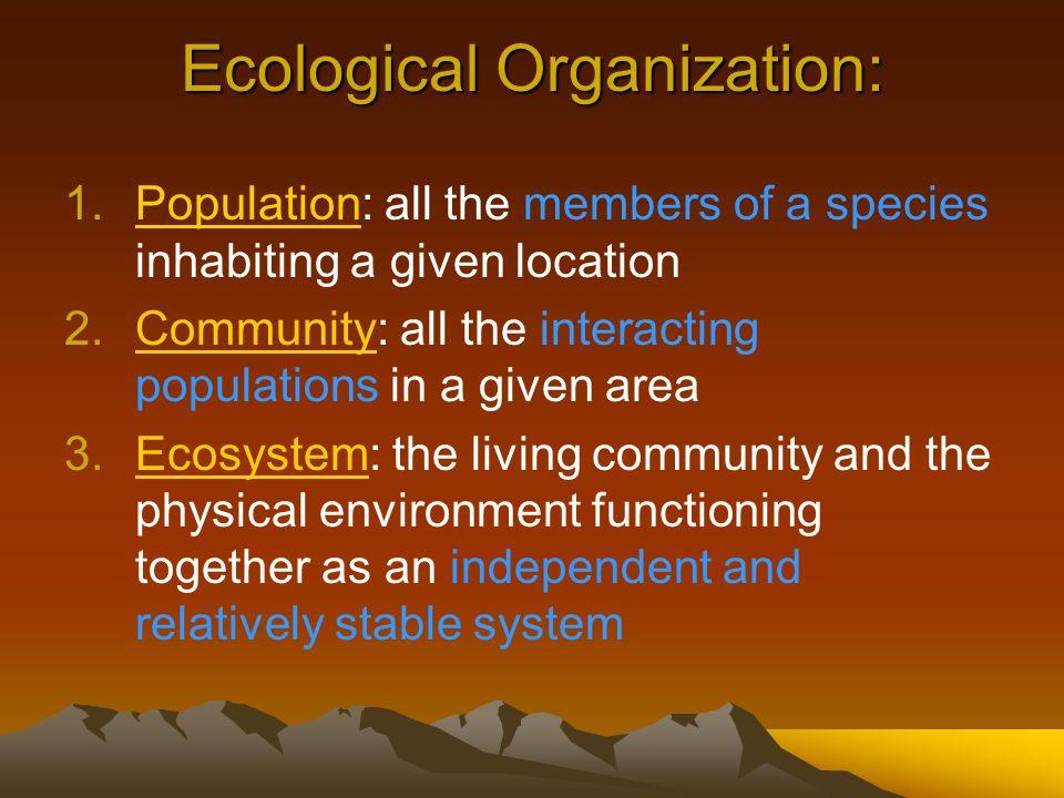 Ecological Organization: