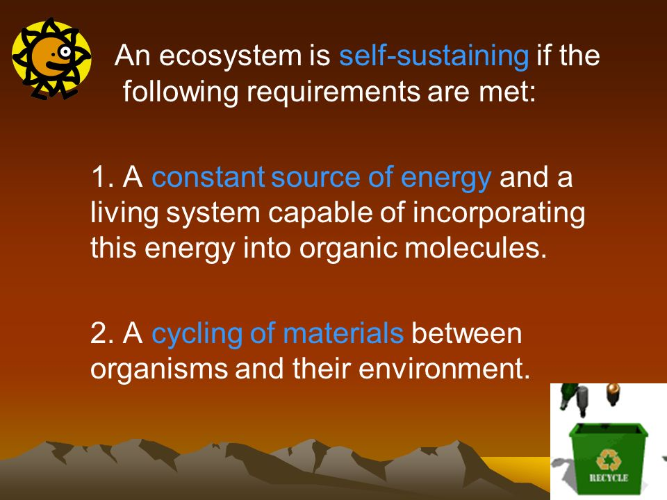 An ecosystem is self-sustaining if the following requirements are met: