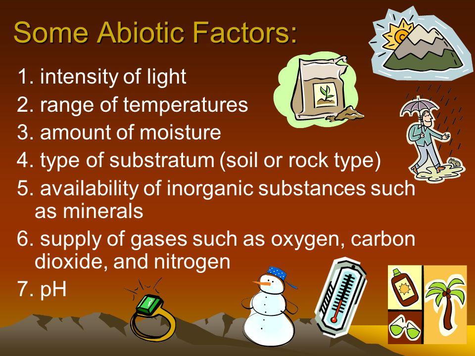 Some Abiotic Factors: 1. intensity of light 2. range of temperatures