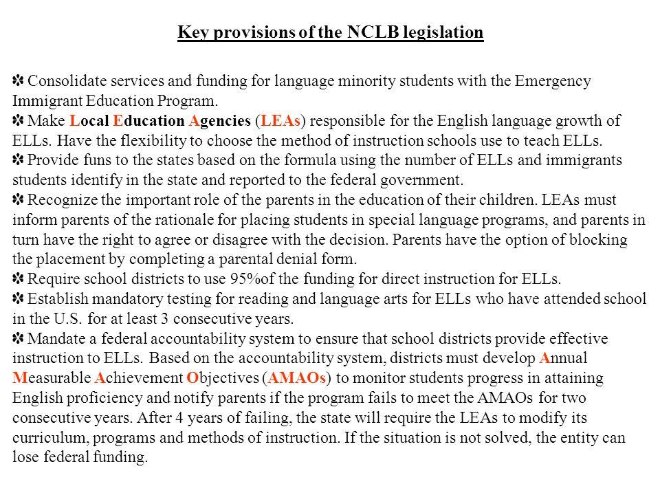 Key provisions of the NCLB legislation