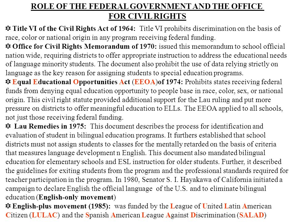 ROLE OF THE FEDERAL GOVERNMENT AND THE OFFICE