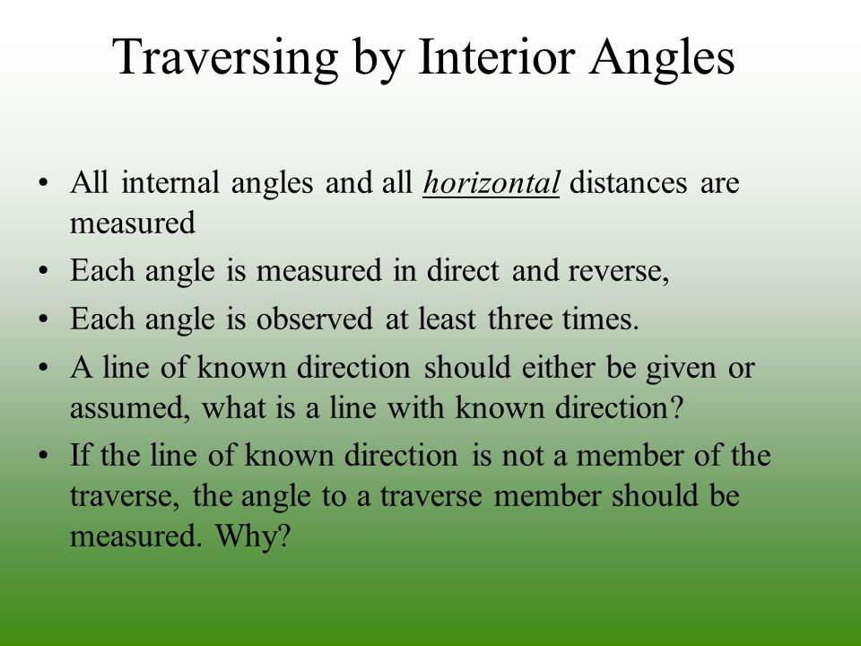 Traversing by Interior Angles