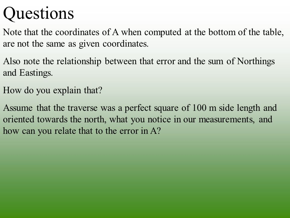Questions Note that the coordinates of A when computed at the bottom of the table, are not the same as given coordinates.