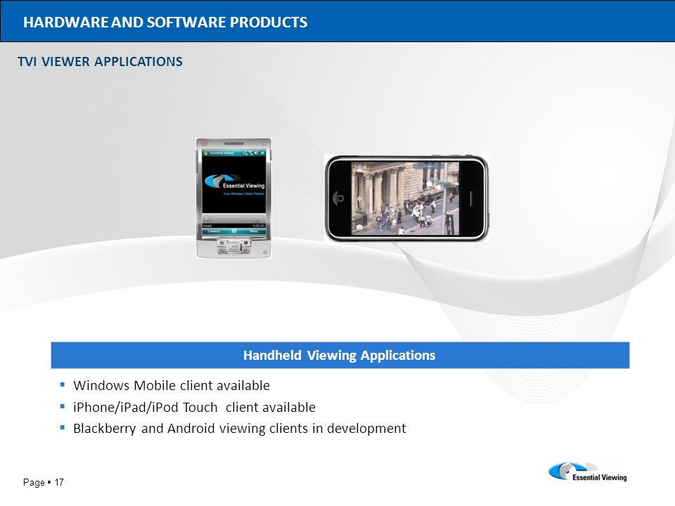 HARDWARE AND SOFTWARE PRODUCTS