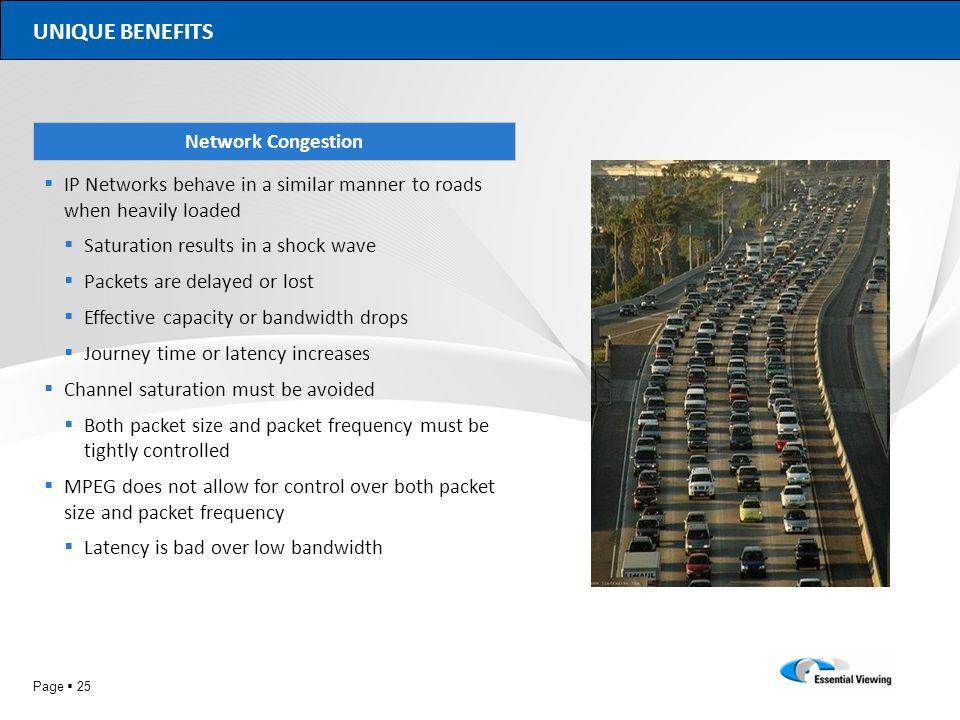 UNIQUE BENEFITS Network Congestion