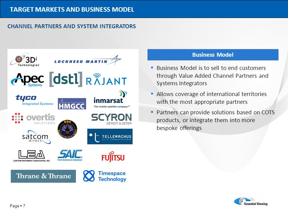 TARGET MARKETS AND BUSINESS MODEL