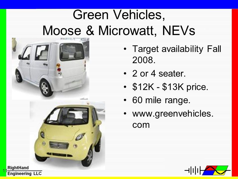 Green Vehicles, Moose & Microwatt, NEVs