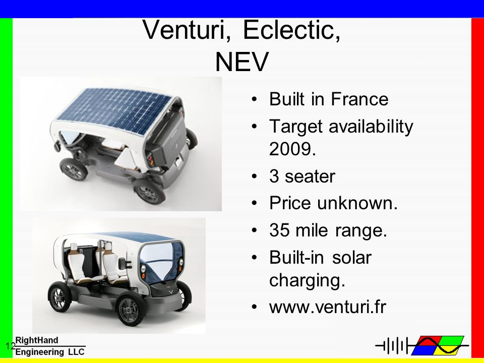 Venturi, Eclectic, NEV Built in France Target availability 2009.