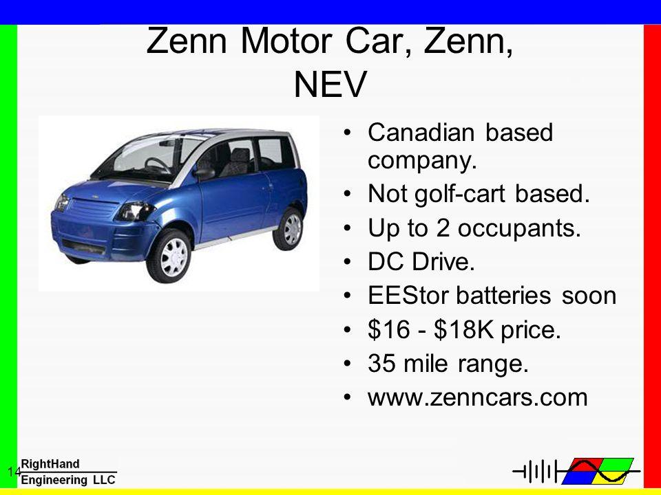 Zenn Motor Car, Zenn, NEV Canadian based company. Not golf-cart based.