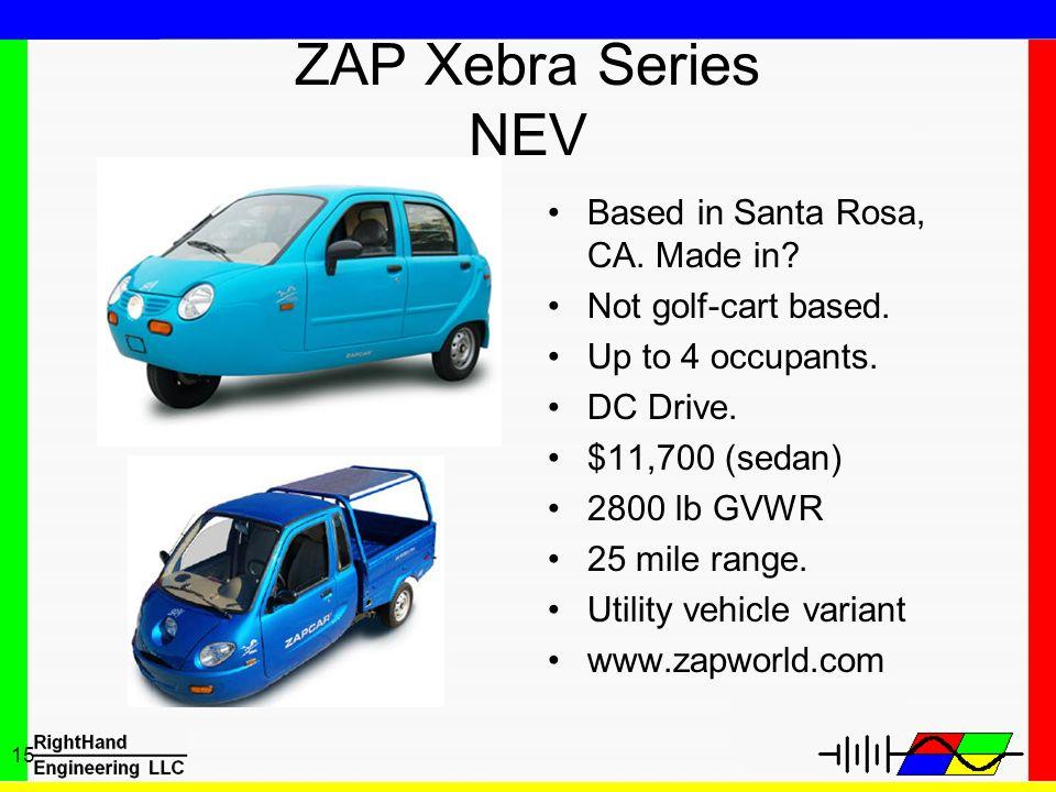 ZAP Xebra Series NEV Based in Santa Rosa, CA. Made in