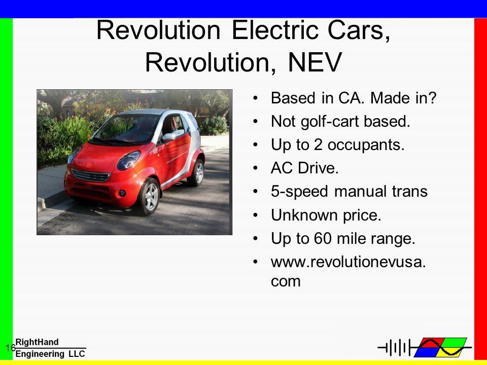 Revolution Electric Cars, Revolution, NEV