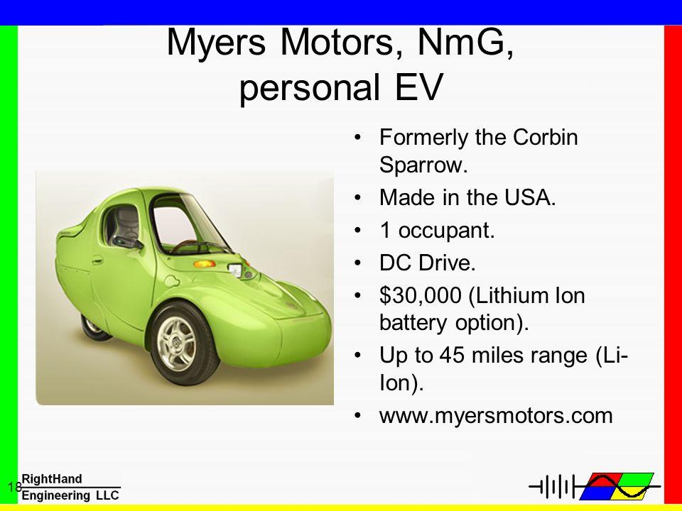 Myers Motors, NmG, personal EV