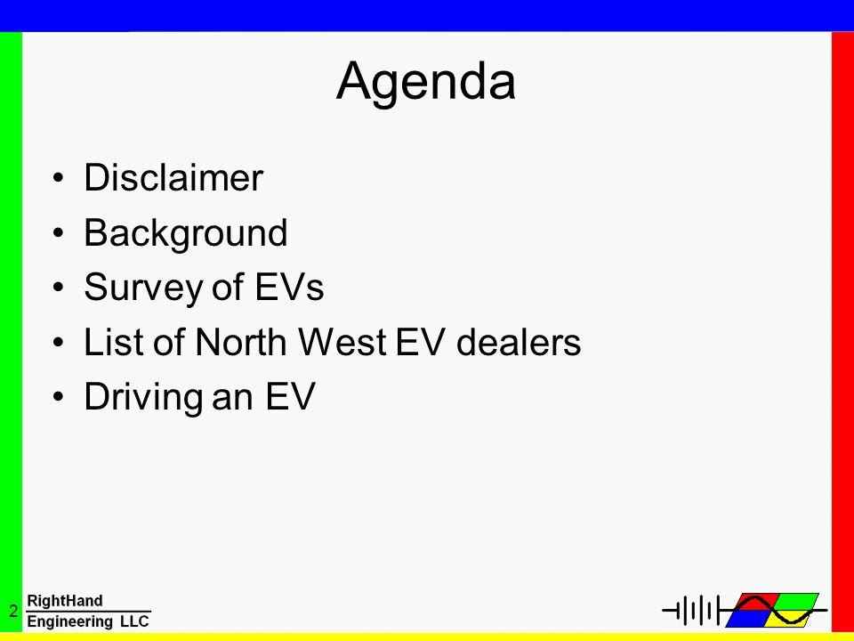 Agenda Disclaimer Background Survey of EVs