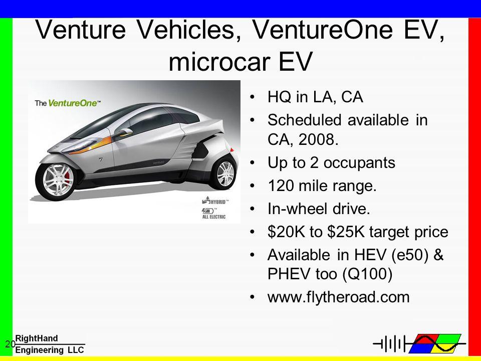 Venture Vehicles, VentureOne EV, microcar EV