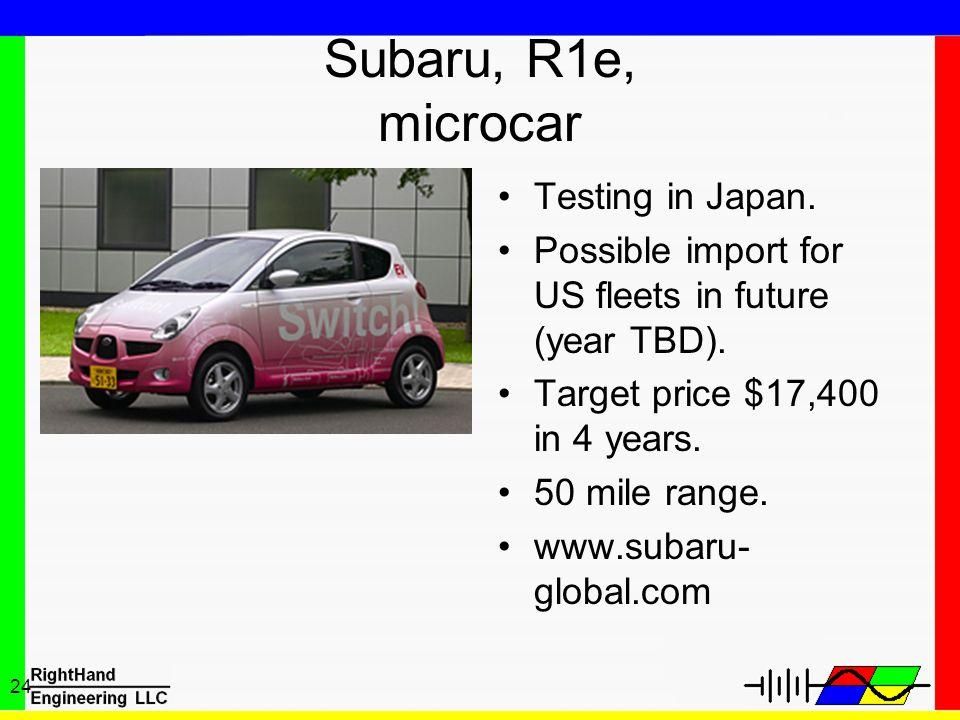 Subaru, R1e, microcar Testing in Japan.