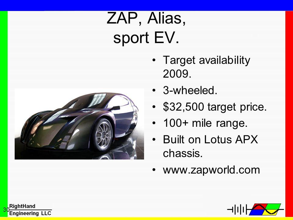 ZAP, Alias, sport EV. Target availability 2009. 3-wheeled.
