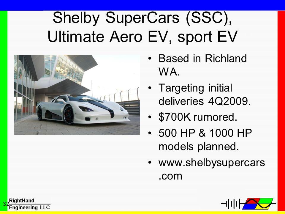 Shelby SuperCars (SSC), Ultimate Aero EV, sport EV
