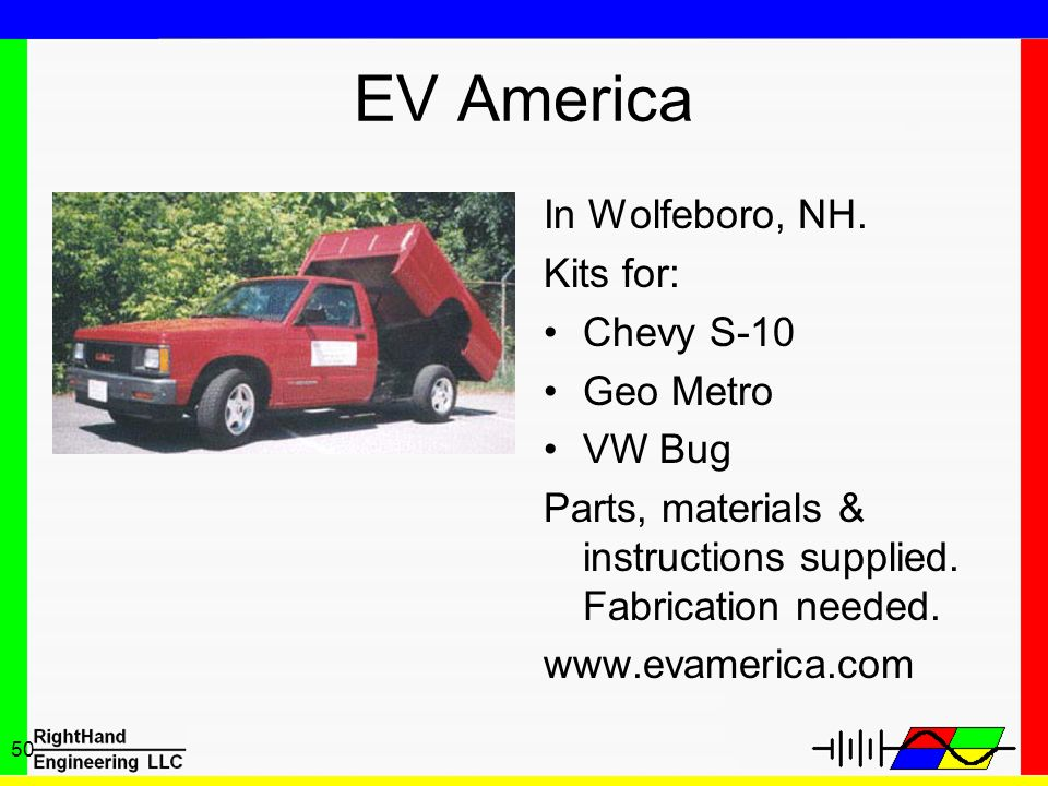 EV America In Wolfeboro, NH. Kits for: Chevy S-10 Geo Metro VW Bug