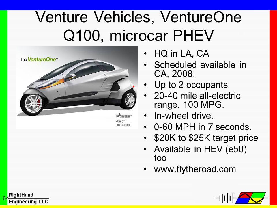 Venture Vehicles, VentureOne Q100, microcar PHEV