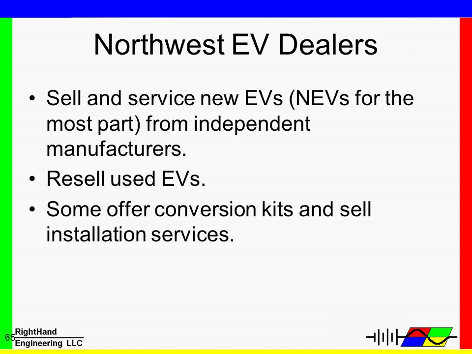 Northwest EV Dealers Sell and service new EVs (NEVs for the most part) from independent manufacturers.