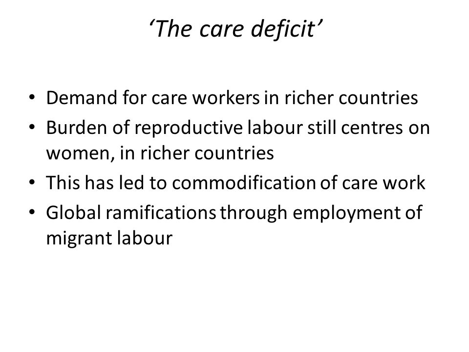 'The care deficit' Demand for care workers in richer countries