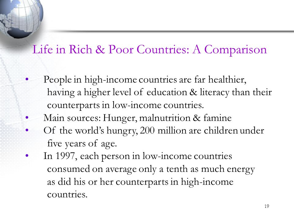 Life in Rich & Poor Countries: A Comparison