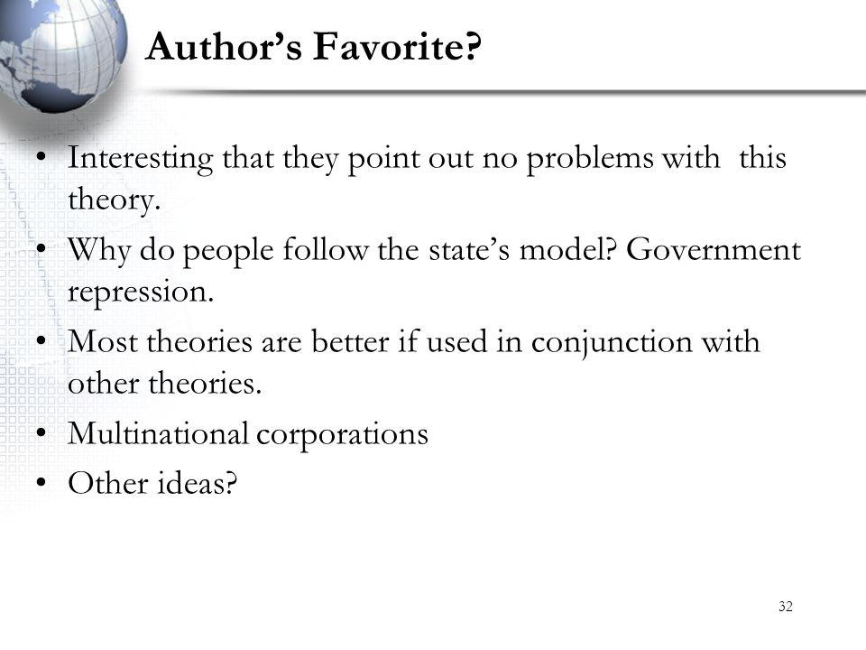 Author's Favorite Interesting that they point out no problems with this theory. Why do people follow the state's model Government repression.