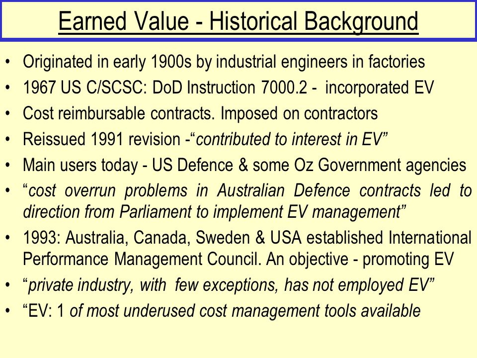 Earned Value - Historical Background