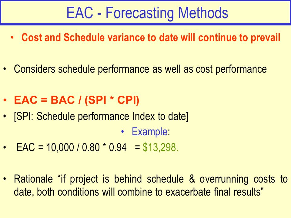 EAC - Forecasting Methods