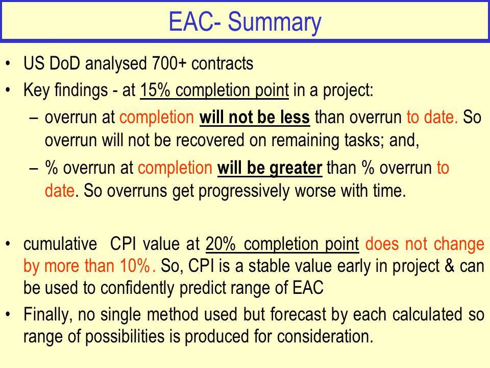 EAC- Summary US DoD analysed 700+ contracts