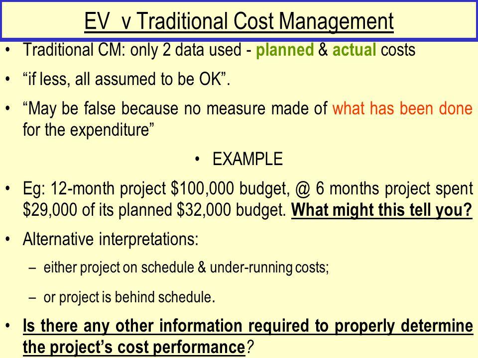 EV v Traditional Cost Management