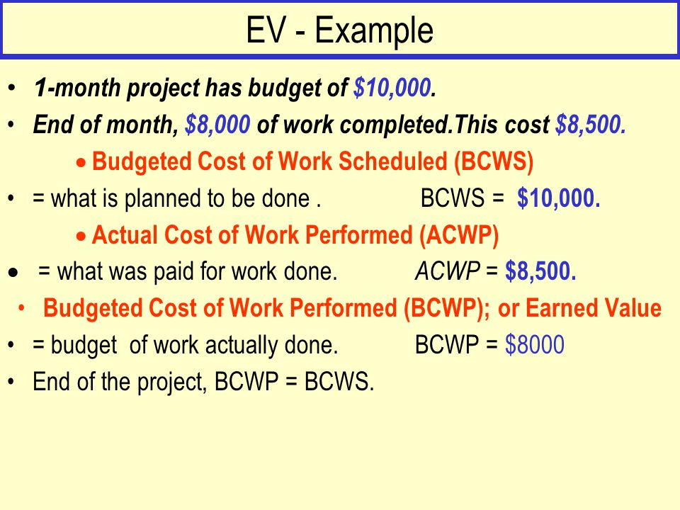Budgeted Cost of Work Performed (BCWP); or Earned Value