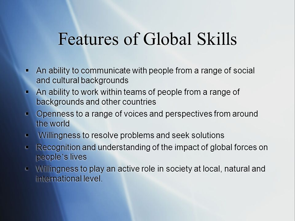 Features of Global Skills