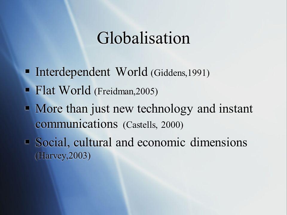 Globalisation Interdependent World (Giddens,1991)