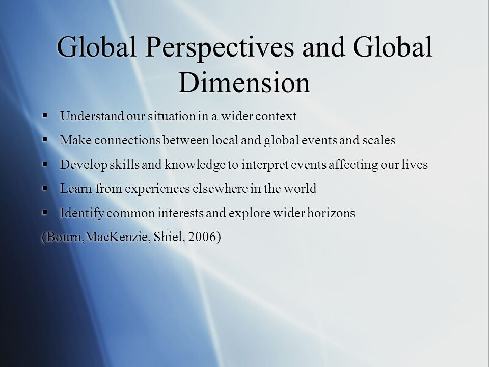 Global Perspectives and Global Dimension