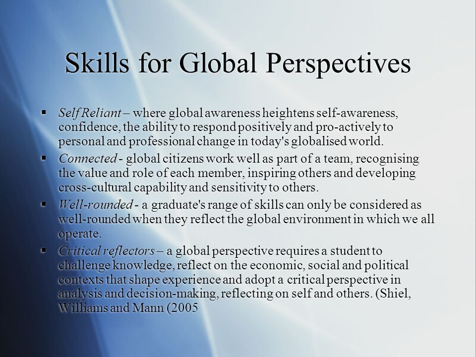 Skills for Global Perspectives
