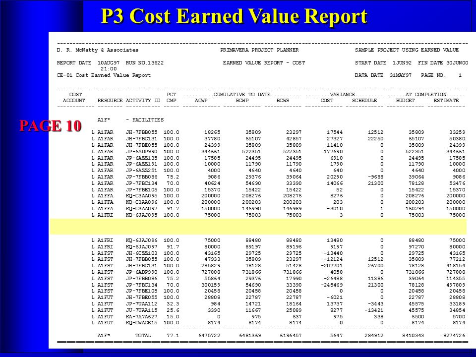 P3 Cost Earned Value Report