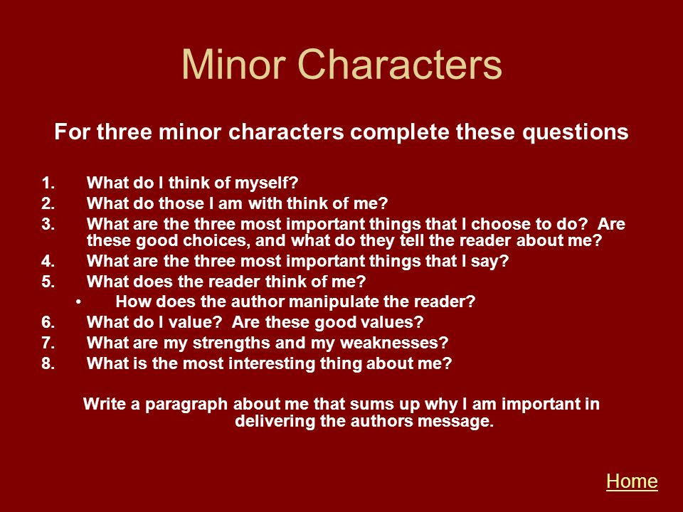 For three minor characters complete these questions