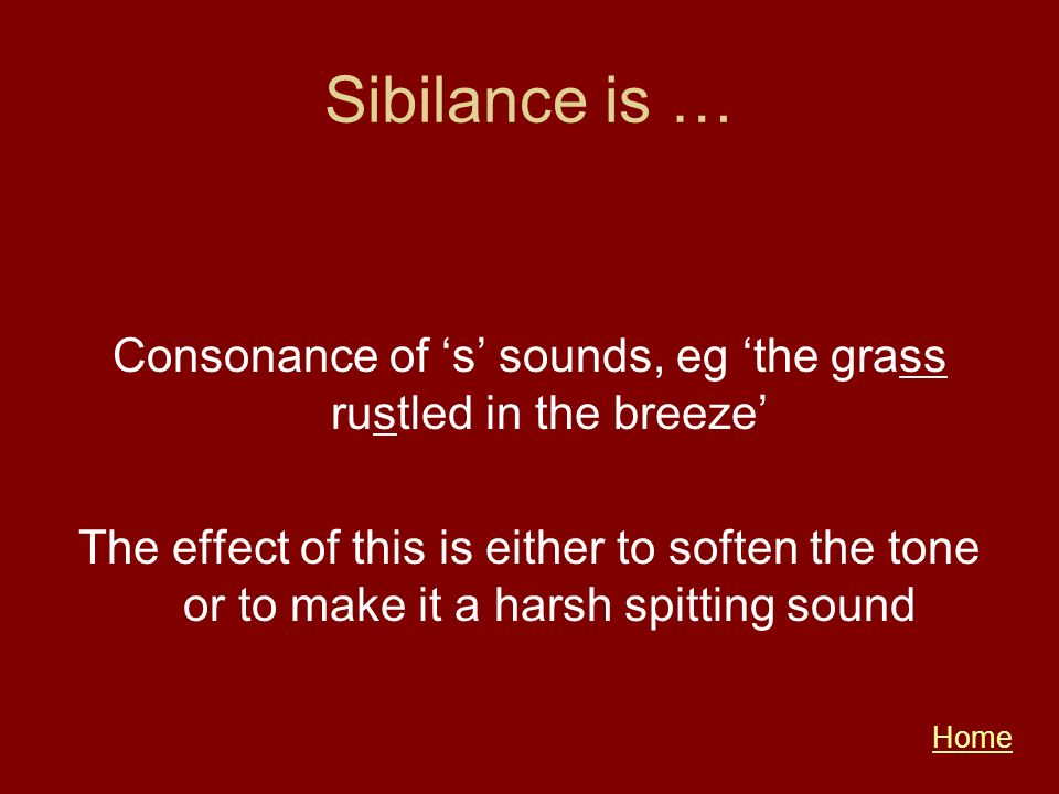Consonance of 's' sounds, eg 'the grass rustled in the breeze'