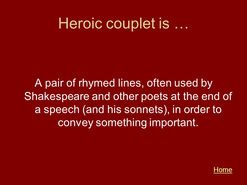 Heroic couplet is …