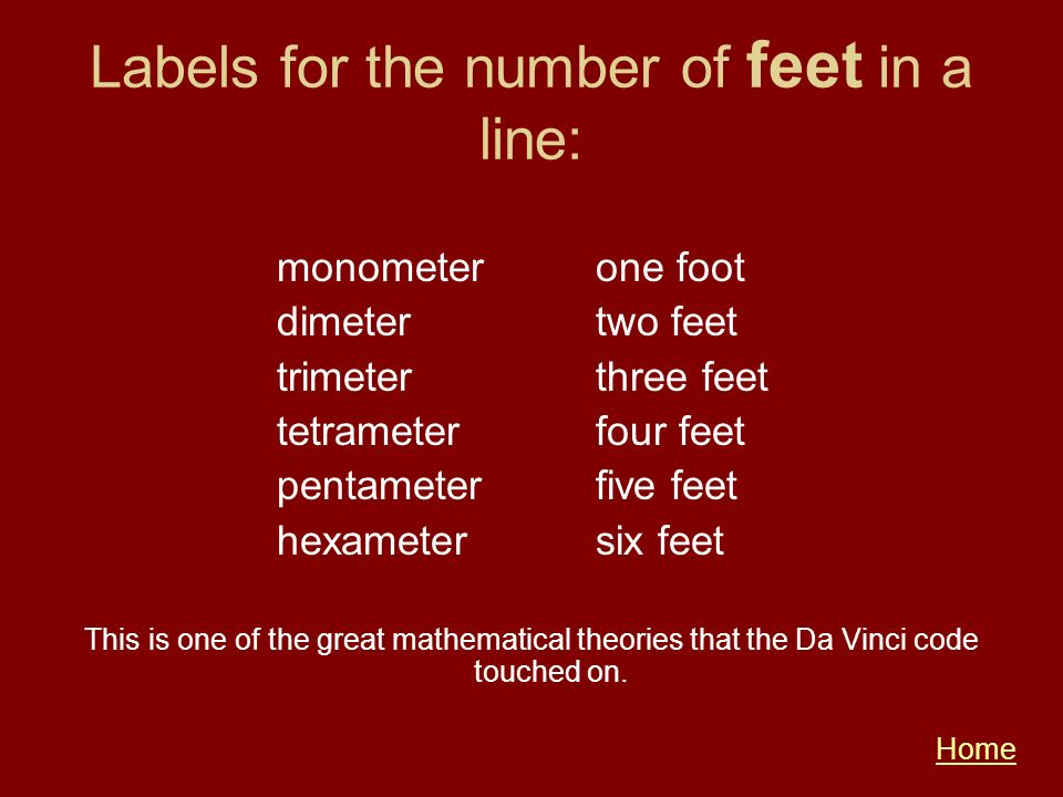 Labels for the number of feet in a line: