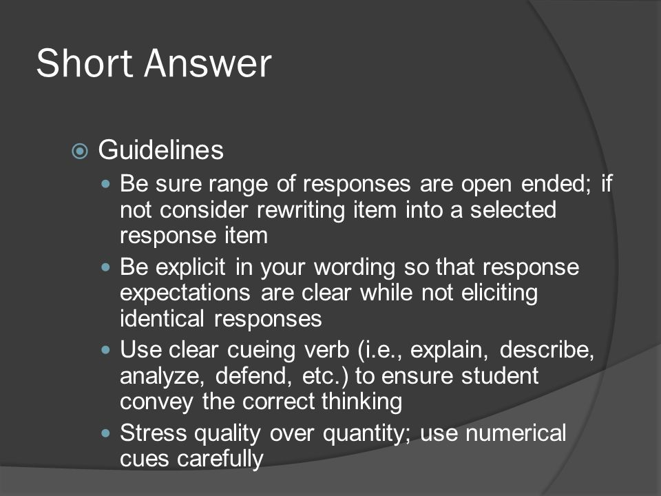 Short Answer Guidelines