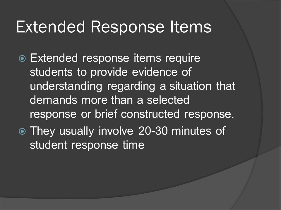 Extended Response Items