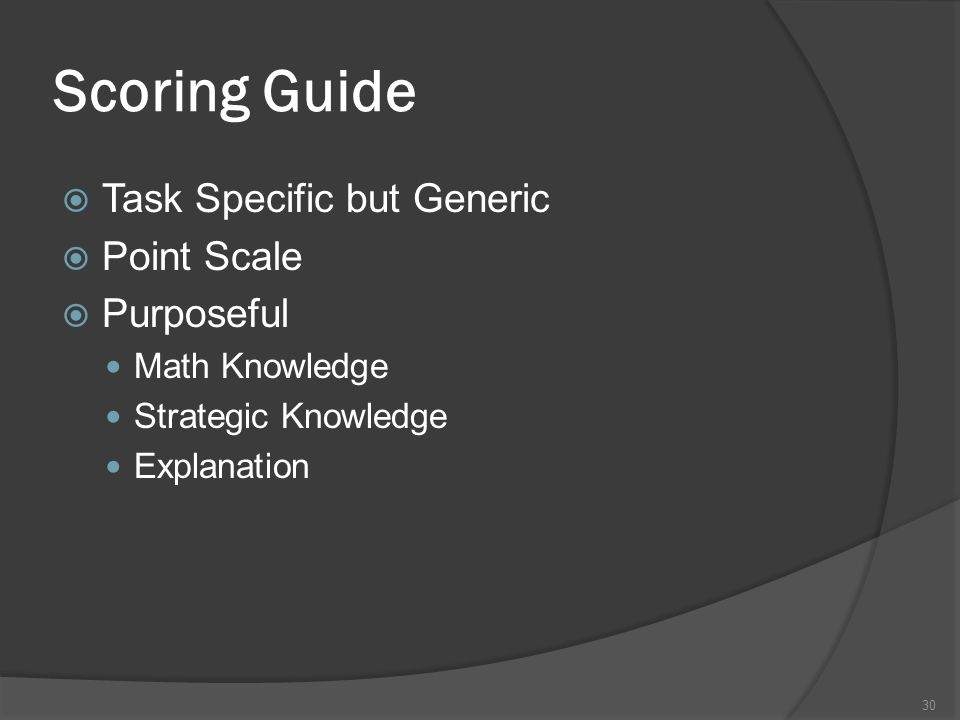 Scoring Guide Task Specific but Generic Point Scale Purposeful
