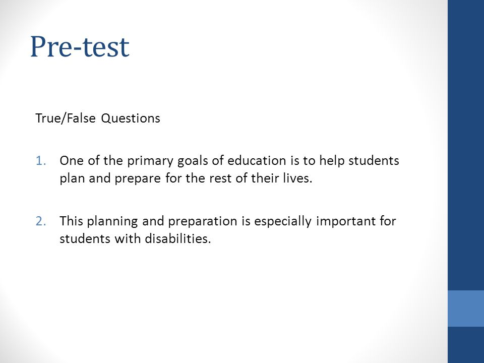 Pre-test True/False Questions